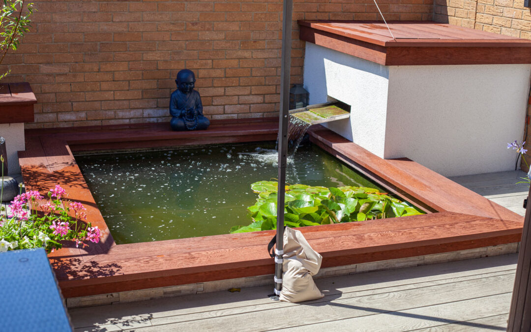 Millboard Jarrah water feature surround and wall capping