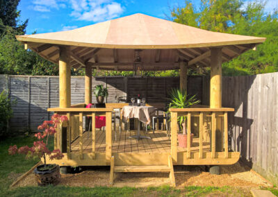 Garden Makeover with Large Gazebo, patio and raised planters