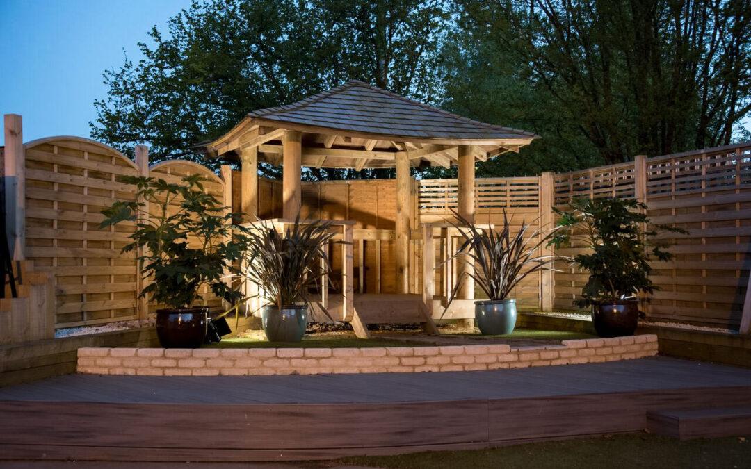 Balinese Style Garden Gazebo with Cedar Shingle Roof