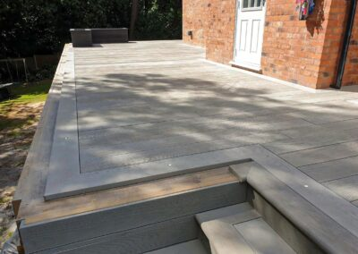 Burnt green smoked oak decking