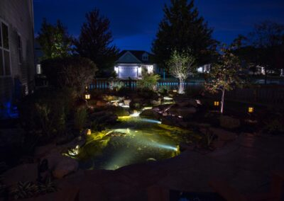 Aquascape Waterfeature lights at night
